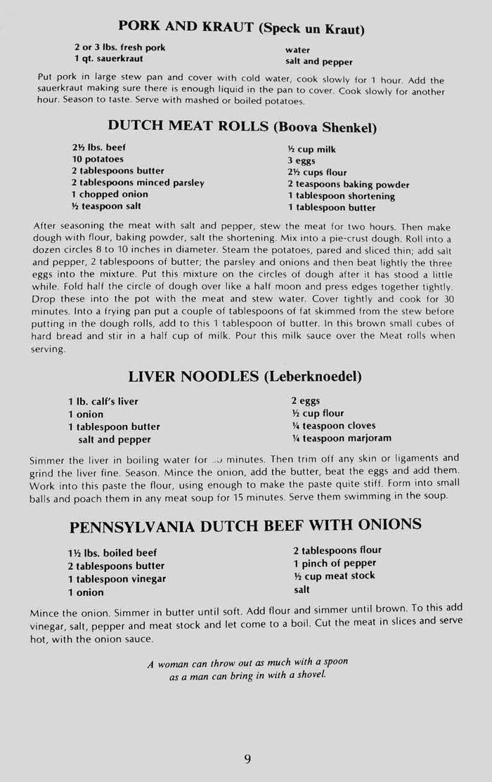1978 Pennsylvania Dutch Recipe Book