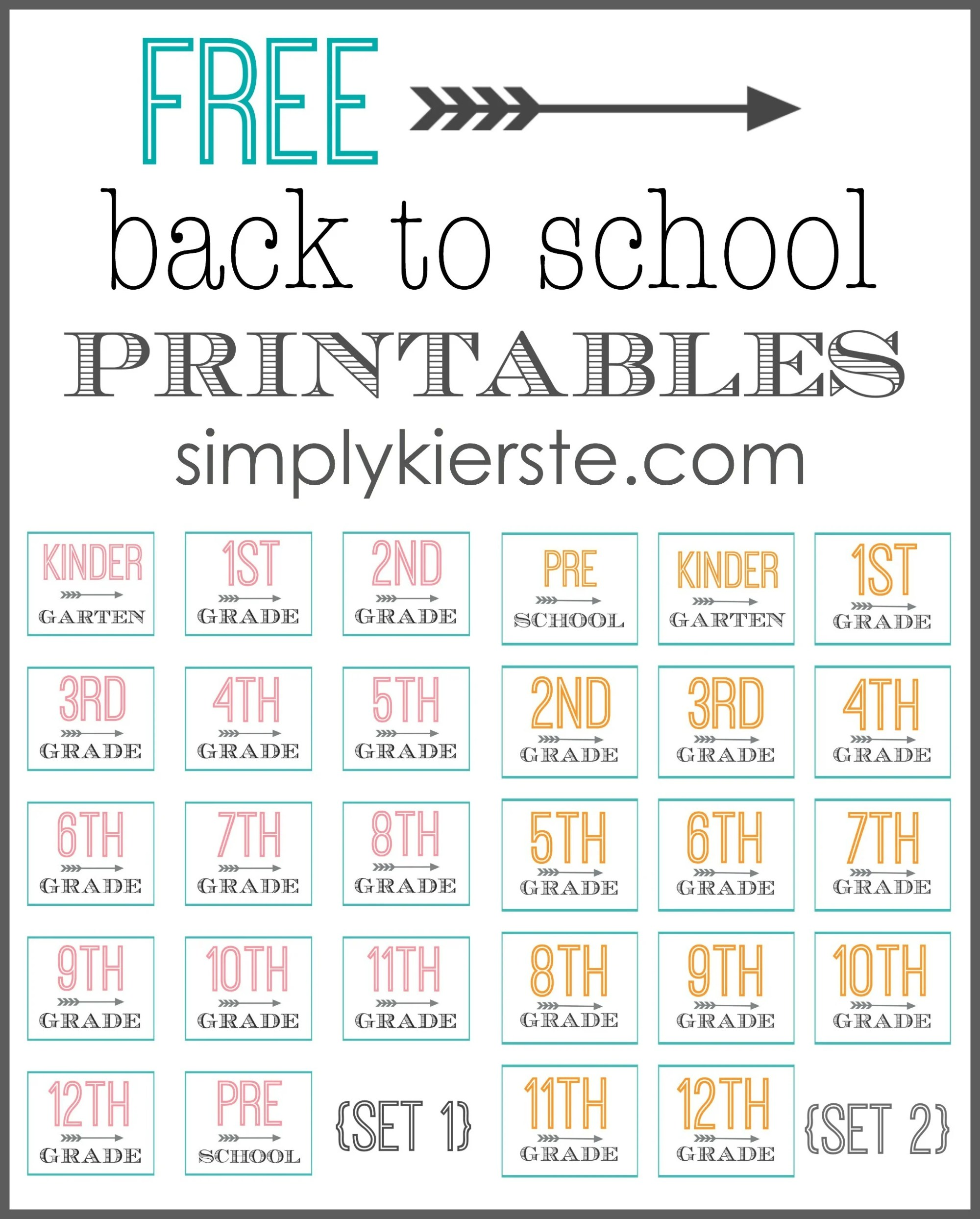 hight resolution of Free Back to School Printables   oldsaltfarm.com