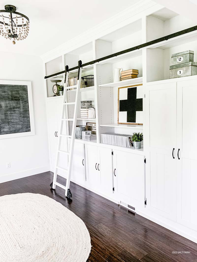 Diy Floor To Ceiling Bookshelves And Rolling Ladder Old