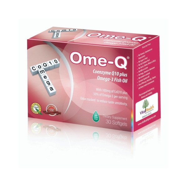 Ome Q Coenzyme Q10 plus Omega-3 Fish Oil -30 softgels-