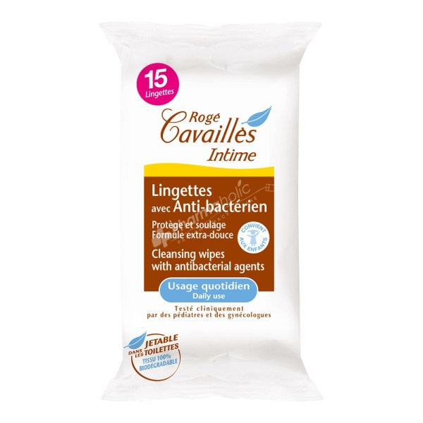 Rogé Cavaillès Intime Anti-Bacterial Wipes -15 wipes-
