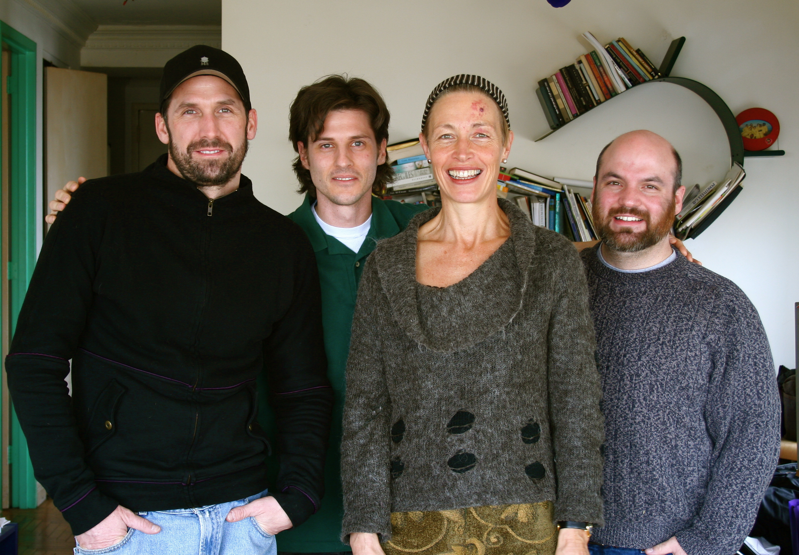 Videographers Chris Cassidy (far left) and Phil Rosensteel (far right) with Steven Fischer and Kirstie Simson. New York City.