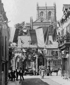 Street decorations in Sherborne, 20 June 1897.