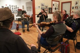 Visiting artist Pascal Gemme leads a Quebecois fiddle tune house camp.