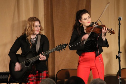 Cassie & Maggie energize the audience at Old Songs.