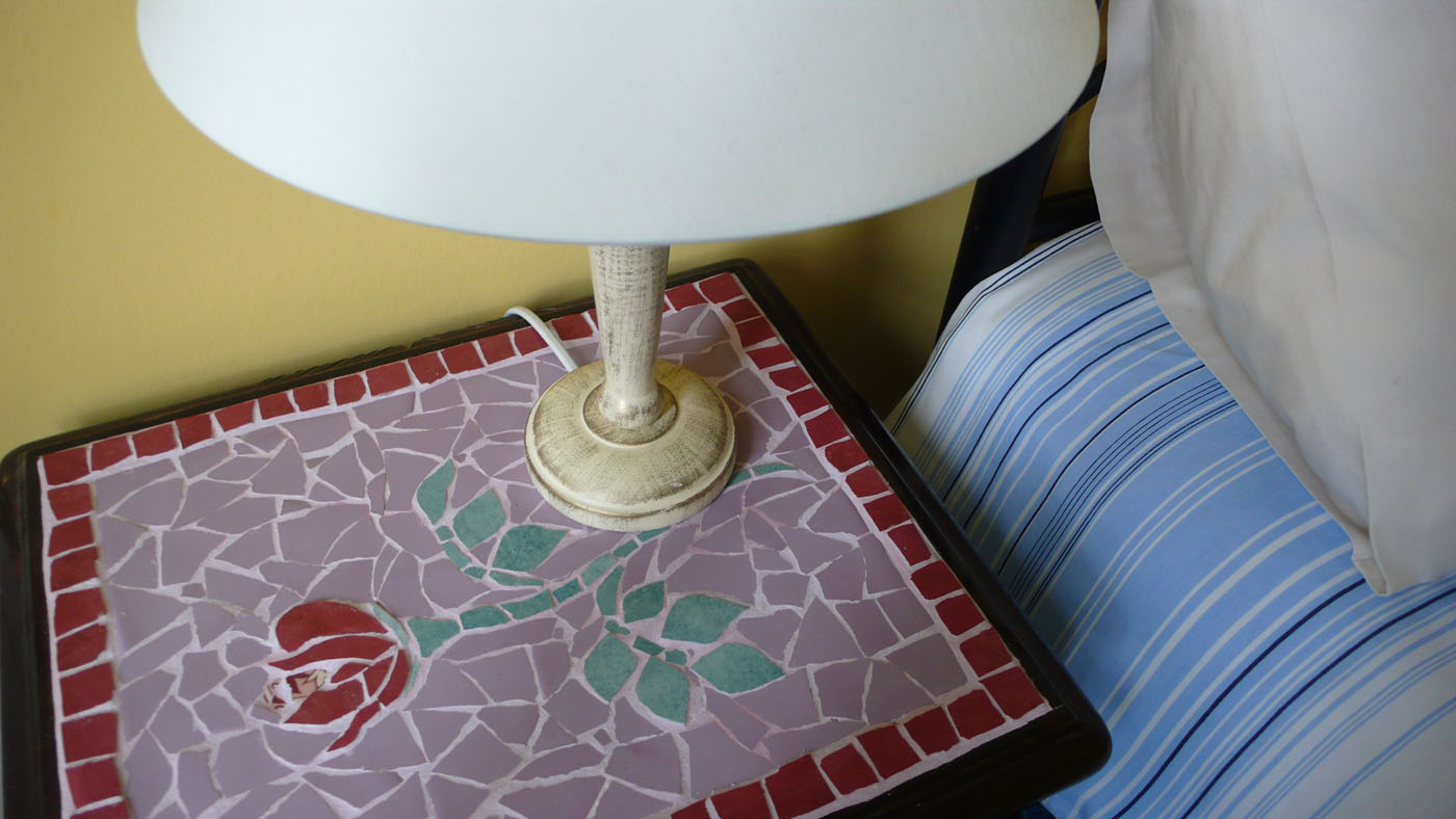 Mosaic Bedside Table, Twin Bedroom
