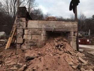 Chimney Infill, old stone chimney, old stone fireplace, stone masonry, early America, Rhode Island, old stone houses, architect Leonard J. Baum