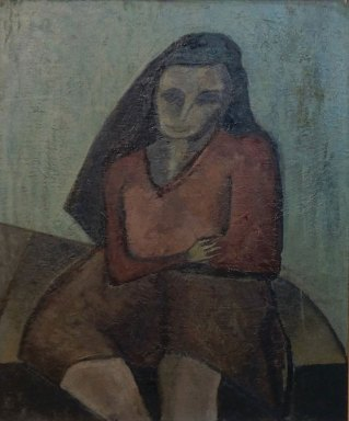Girl Sitting, circa 1940, Oil on Masonite, 24 X 20, Private Collection