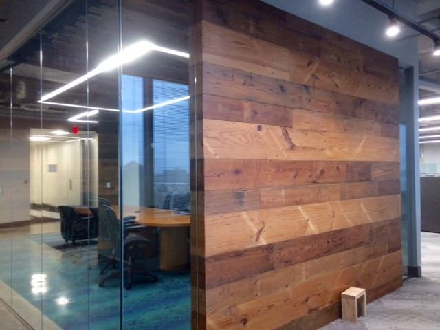 Pine Glass Wall Architect Office Old Texas Wood