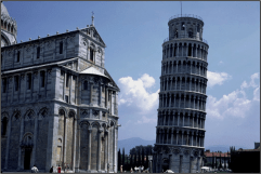 The church and the leaning tower - it REALLY leans