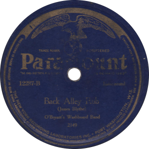 Back Alley Rub, recorded June 1925 by O'Bryant's Washboard Band.