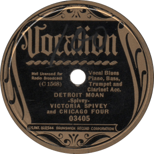 Detroit Moan, recorded October 15, 1936 by Victoria Spivey and Chicago Four.