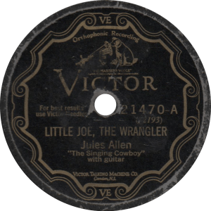 Little Joe, the Wrangler, recorded