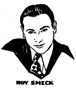 An illustration of Roy Smeck from 1930s Perfect record sleeve.