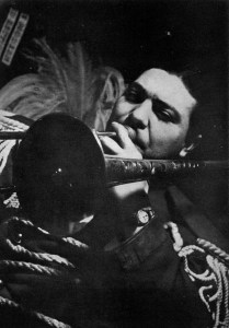 Jack Teagarden in marching band uniform. From Jazzmen, 1938, photo by Charles Peterson.