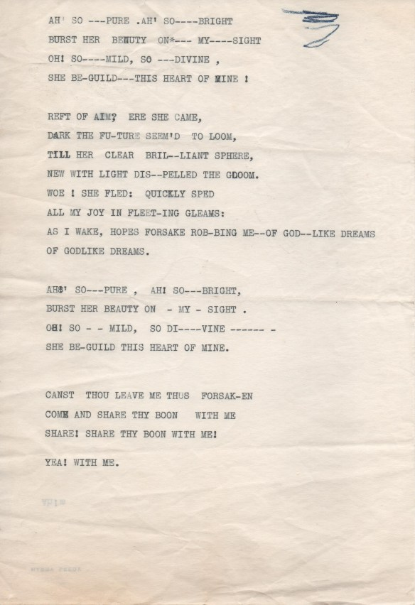 "Lyrics for ""Martha"" hand typed, presumably, by Connie herself, on Harry Leedy letterhead."