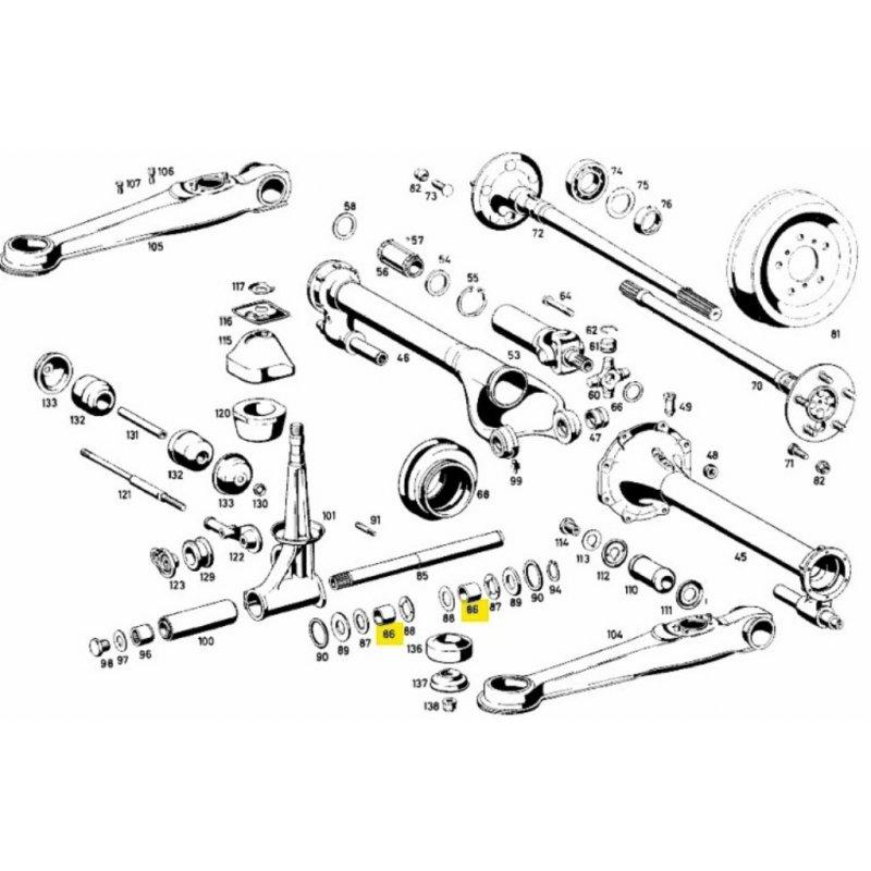 26 mm Abstandshülse für Tragrohrlagerung im Mercedes 190