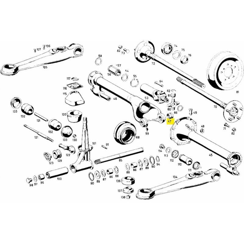 Buchse für rechtes Tragrohr im Mercedes 190 SL, Ponton