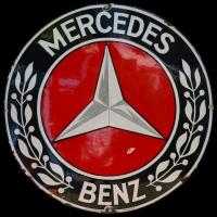 Logo Mercedes-Benz auf FERRO-EMAIL SCHILD aus Offenburg i.B. aus den 1930er Jahren