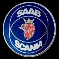 Logo Saab 900 und Logo Scania Lkw