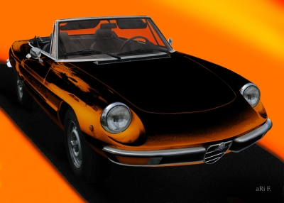 Alfa Romeo Spider in orange & orange