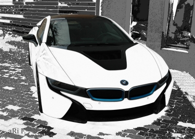 BMW i8 in black & white front