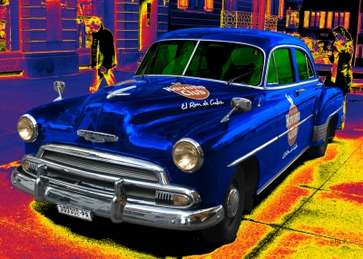 Chevrolet Deluxe Poster with Havana Club in blue & yellow