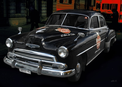 Chevrolet Deluxe Poster with Havana Club in black & red