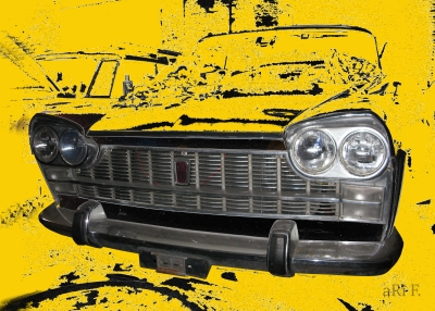 Fiat 2300 Familiare Poster in black & yellow