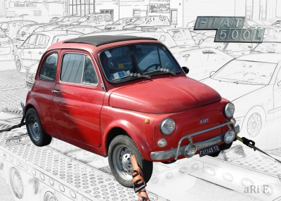 Fiat Nuova 500 L in white & red (Originalfoto)