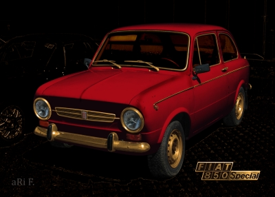 Fiat 850 Special in hot red
