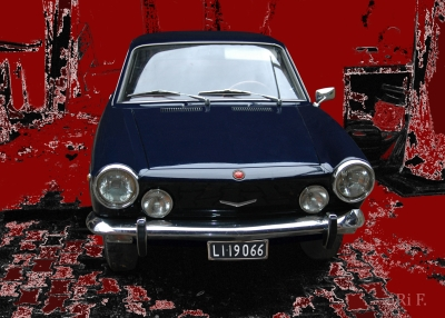 Fiat 850 Coupé Poster in black & red