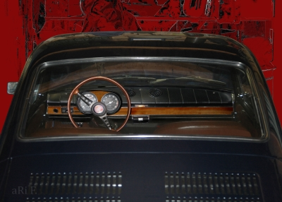 Fiat 850 Coupé Interieur in black & red
