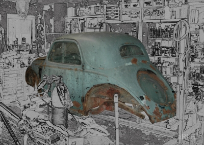 Fiat Topolino A in Restauration Poster