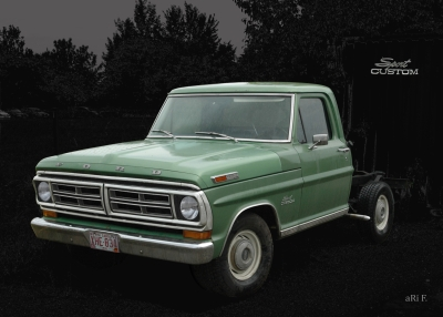 Ford F-100 Poster in black & green (Originalfarbe) 6. Generation