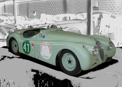 Poster Jaguar XK 120 Roadster for racing