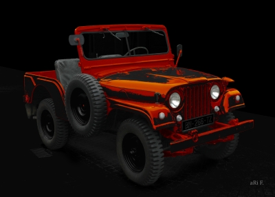 Willys Jeep in black & orange Poster