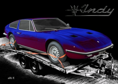 Maserati Indy Coupé in black & blue-red mix