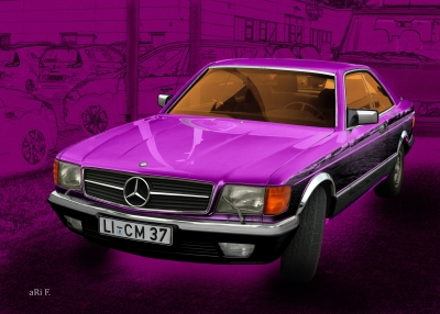 Mercedes-Benz Coupé in pink & pink (S-Klasse, C 126)