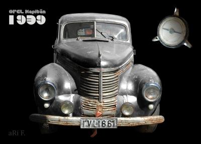 Opel Kapitän '39 Poster in black & grey in front view