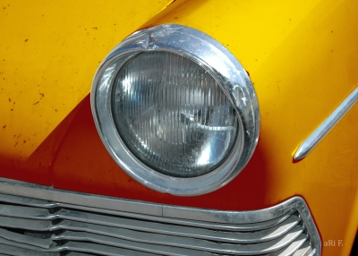 Opel Rekord P2 front detail in orange