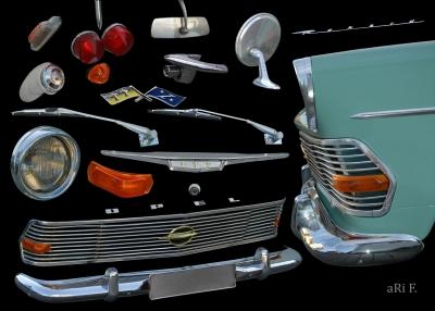 Opel Rekord P2 mit Einzelteilen
