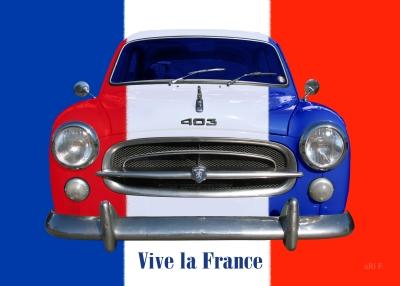 Peugeot 403 Poster Vive la France