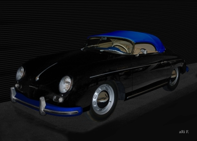 Poster Porsche 356 A 1500 Speedster in black & blue