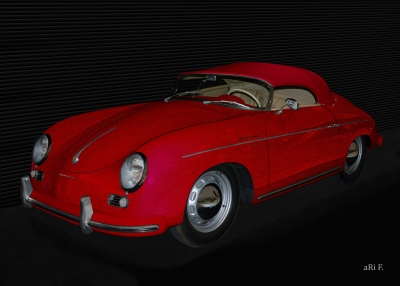 Poster Porsche 356 A 1500 Speedster in red