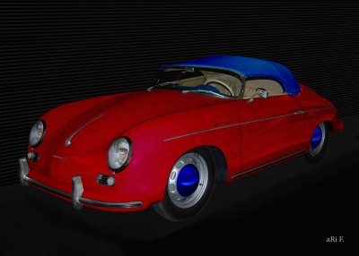 Poster Porsche 356 A 1500 Speedster in red & blue