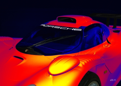 Porsche 911 GT1 Poster in mixed colors