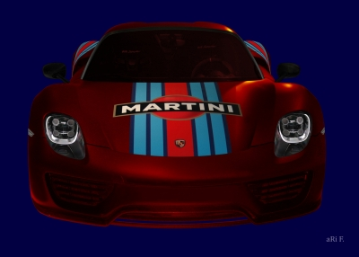 Porsche 918 Spyder Poster in red & blue