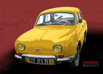 Renault Dauphine Poster in yellow-red