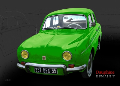 Renault Dauphine Poster in black & green